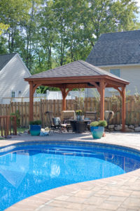 Decks Plus - Traditional Wood Pavilion - Canyon Brown Stain - Asphalt Shingles