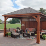 Decks Plus - Traditional Wood Pavilion - Superior Posts - Privacy Wall
